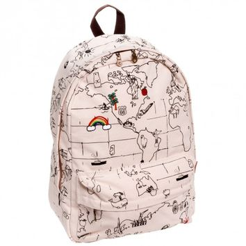 J. Carrot White World Map Canvas Backpack Bag
