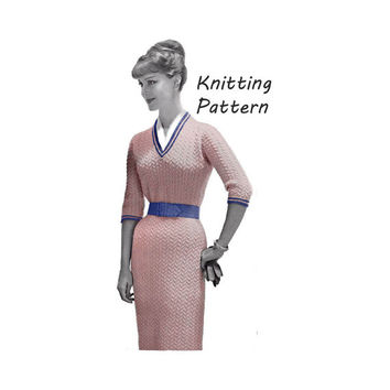Woman's Dress in Textured Stitch Knitting Pattern || Vintage 1960's || Reproduction PDF Instant Download 994-TC52