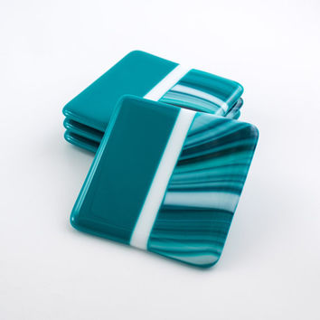 Fused Glass Coasters, Set of 4, Teal Home Decor, Square Modern Coasters, Coffee Table Decorations, Bar Accessories, Unique Hostess Gift