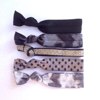 Cute Hair Ties (Winter Weather Set) black and grey tie sparkle dye polka dot french ties