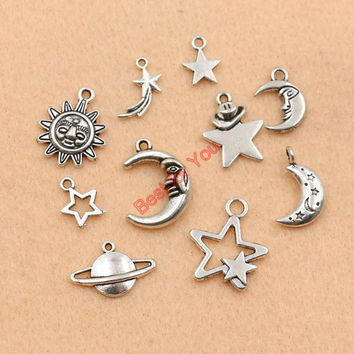 Mixed Tibetan Silver Plated Moon Star Sun Charms Pendants Jewelry Making Handmade Accessories DIY m030