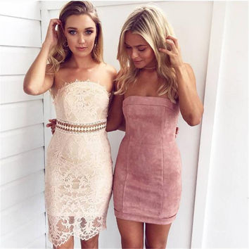 2016 New arrival Fashion Suede mini Dress Strapless winter slash neck sleeveless sexy new year party dress vestidos outfits