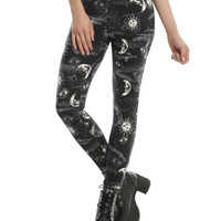 Blackheart Black & White Mystical Celestial Print Leggings