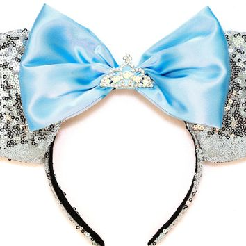 Cinderella Sequin Ears with Tiara Blue Bow