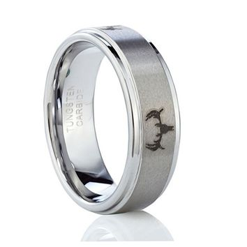 8mm Tungsten Ring Deer Head Hunting Men's Ring Wedding Band (Platinum)