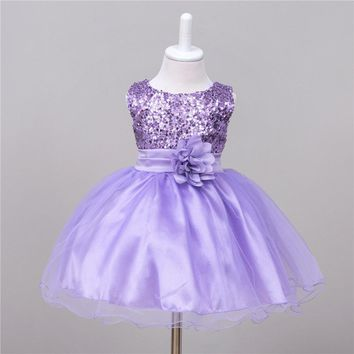 Baby wedding party dress infant flower girl dress sequined formal purple green black peach pink navy blue photography newborn