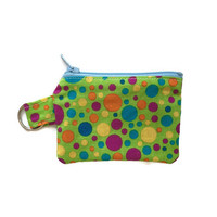 Polka Dot Zippered Pouch, Keychain Coin Pouch, Small Cloth Wallet