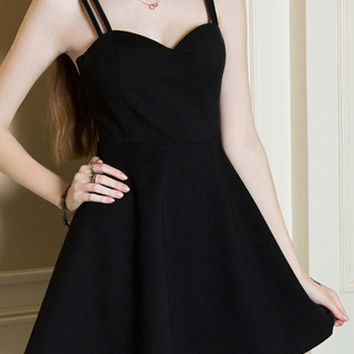 Black Spaghetti Strap Backless Flare Dress