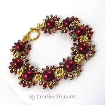 Daisy Chain Bracelet with Burgundy Pearls and Super Duo Beads.