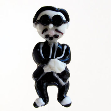 Gangnam Style Dancing Psy...Lampwork Glass Focal Bead or Ornament by Marcy Lamberson
