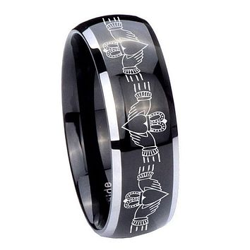 10MM Dome Glossy Black Middle Irish Claddagh Two Tone Tungsten Men's Ring