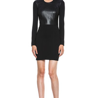 Helmut Lang | Hammer Leather & Jersey Dress in Black www.FORWARDbyelysewalker.com