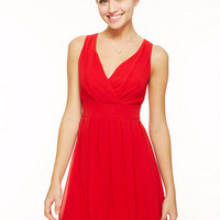 Chiffon Tie-Back Party Dress - Red