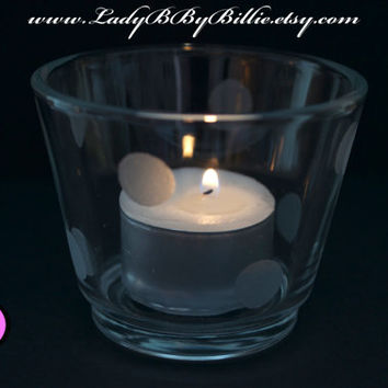 Polka Dot Tea Light Holder - With Tea Light