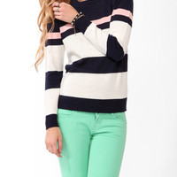 Colorblocked Crew Neck Sweater