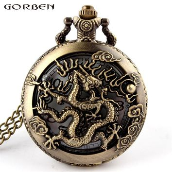 2017 Cool Design Cooper Dragon Hollow Quartz Pocket Watch Antique Pocket Watches Necklace Pendant For Women Men With Long Chain