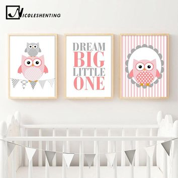 NICOLESHENTING Owl Woodland Animal Wall Art Canvas Poster Nursery Prints Cartoon Painting Nordic Picture Baby Girl Bedroom Decor