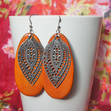 Wood Sterling Silver Filigree Earrings