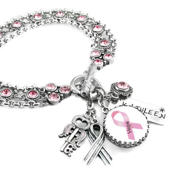 Pink Ribbon, Personalized Breast Cancer Bracelet