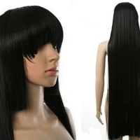 HealthTop Hell Girl Enmaai Long Black 100cm Brand New Heat Resistance Cosplay Wig Anime Show & Party Wig& Performance Hair Full Wigs