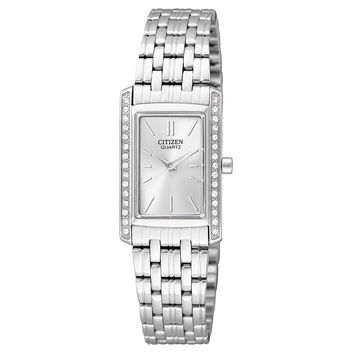 Citizen EK1120-55A Women's Quartz Rectangular Swarovski Crystal Accents Watch