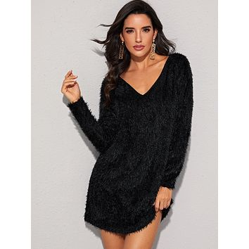 SHEIN V-neck Fluffy Sweater Dress