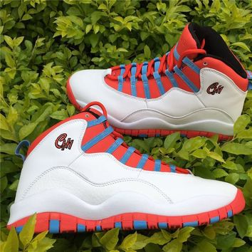 Nike Air Jordan 10 Retro White Crimson Chicago Flag City Pack Basketball Sneaker Aj10 310805-114 - Beauty Ticks