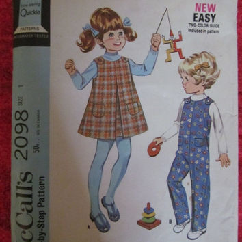 Spring Fever Sale 1960's McCall's Sewing Pattern, 2098! Size 1 Toddlers/Infants, Jumpers and Overalls, Coveralls, Tunic Dress,, Aline Dress