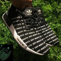 Best Online Sale OFF WHITE x Adidas Consortium NMD Black White Noctilucous Boost Sport Running Shoes Classic Casual Shoes Sneakers