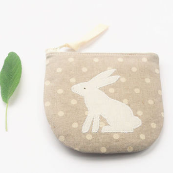 Linen Zipper Pouch, Rabbit Applique Change Purse, Polka Dot in Natural