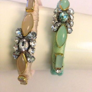 Handmade Blush or Mint Beaded and Embellished Cord Bridesmaids Bracelet