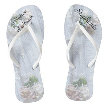 Vintage Lace Matron of Honor Wedding Flip Flops