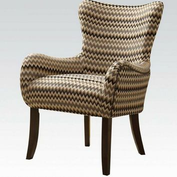 Acme 59398 Gabir collection zig zag chevron pattern fabric accent side chair with wood legs