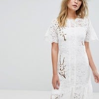 Liquorish Lace Dress With Blossom Embroidery at asos.com