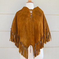 Vintage Leather Poncho with Fringe, Hippie Boho Cognac Brown Suede Poncho, circa 1960s-1970s