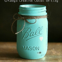 Cream, Coral and Teal - Shabby - Hand Painted Mason Jar - Vase - Home Decor - Valentine-Wedding Centerpieces-Baby Shower