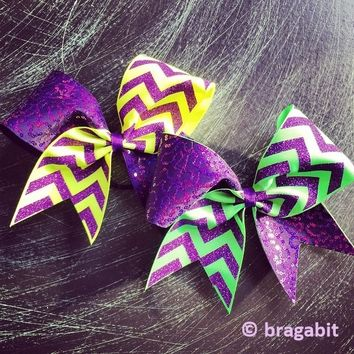 Purple sequins and purple glitter chevron with neon green or neon yellow ribbon