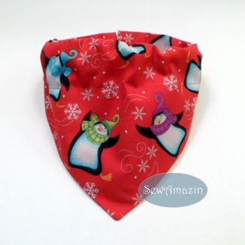 Penguins and Snowflakes Winter Dog Bandana, Collar Slipcover, Medium