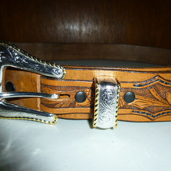 Mens Hand Tooled Leather Belt Deer Bear Acorns Leaves 59 Inches Long
