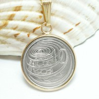 Cayman Island 10 Cent Coin Pendant Image of Hawksbill Turtle