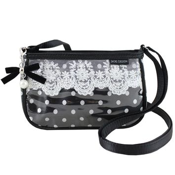 "Polka Dot Romance Shoulder Bag 8""X5""X2"" Black"