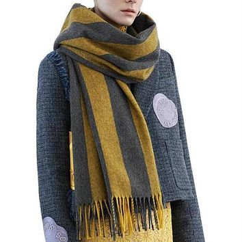 winter style famous brand warm men women lady Scarves luxury warm Unisex Pashmina Fringed stripes scarf for women grey black