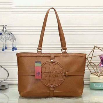 ONETOW Tory Burch Women Shopping Leather Handbag Tote Satchel Shoulder Bag F-LLBPFSH  Brown