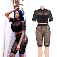 Black Mesh Crop Sets