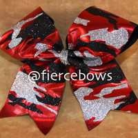 Glitter Camo Cheer Bow by MyFierceBows on Etsy