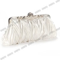 Crystals kiss lock satin pleated evening wedding prom bridal clutch Women purse