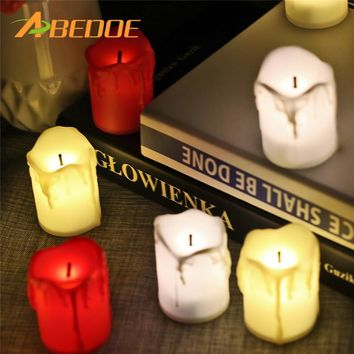 ABEDOE 12pcs Flameless LED Candle Flicker Light Lamp Decoration Electric Battery-powered Candles Yellow Tea Light Party Wedding