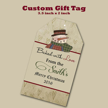 Custom Christmas Gift Primitive Snowman Tags Printing  Matte  3.5 x 2 inch cards Design services Gift Tags Hang Tags Sales Tags Shop Tags