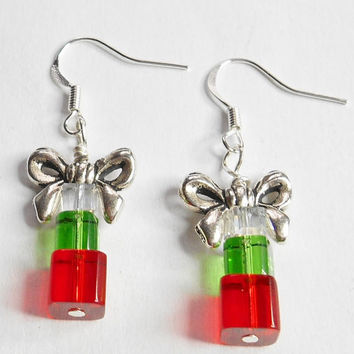 Christmas Package Bow Square Cube Red Green Dangle Handmade Earrings