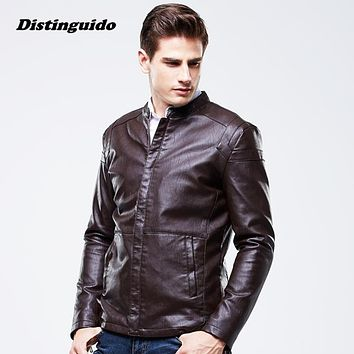 High Quality Brand Luxury Men's PU Leather Jacket 2017 Casual Male Leather Jacket Coats MJK019